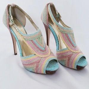 Bakers Multicolor Peep Toe Heels